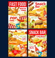 fast food hamburger pizza hotdog and sandwiches vector image vector image
