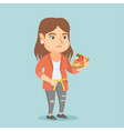 fat caucasian woman with pizza measuring waistline vector image vector image
