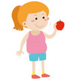 fat woman eating red apple vector image