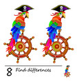 find 8 differences logic puzzle game for children vector image vector image