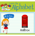 Flashcard letter M is for mailbox vector image vector image