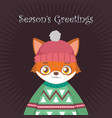 fox portrait in ugly christmas sweater vector image