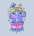 funny cactus in a pot cartoon for vector image vector image