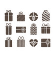 gift box set with bow cartoon graphic vector image