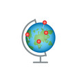globe with red markers vector image