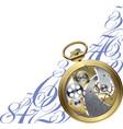 Golden watch inside vector image