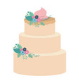 hand drawing color three-story cake with pink vector image vector image