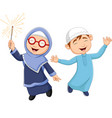 happy muslim kid cartoon on white background vector image vector image