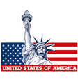 independence day statue of liberty usa flag vector image