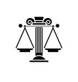 judicial system black icon sign on vector image vector image