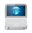 laptop with Earth on display vector image vector image