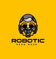 logo robotic mask simple mascot style vector image
