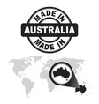 made in australia stamp world map with zoom on vector image