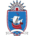 Marine emblem coat of arms sailboat wheel vector image vector image