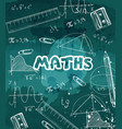 math formulas and crayons drawn on a chalkboard vector image