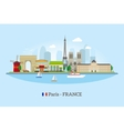 Paris skyline in flat style vector image vector image