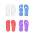 realistic 3d colorful flip flops beach slippers vector image vector image