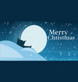 santa claus sitting on snowdrift looking through vector image vector image