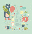 set cartoon animals and spring elements vector image vector image