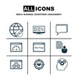 set of 9 marketing icons includes website vector image vector image