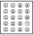set of black line cartoon emoji face icons vector image vector image