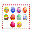 set of colored easter eggs isolated vector image vector image