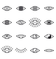 set various eye icons on white background vector image vector image