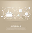 ship boat icon on a brown background with elegant vector image
