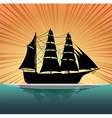 Silhouette sailboat on the sea vector image vector image
