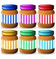 Six jars of peanut butters vector image