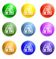 vegan lunchbox icons set vector image vector image