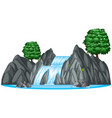 waterfall with two big trees vector image vector image