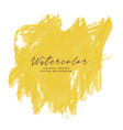 yellow paint brush stroke watercolor with text vector image vector image