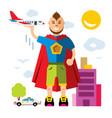 city superhero flat style colorful cartoon vector image
