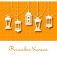 Arabic lanterns background for Ramadan Kareem vector image