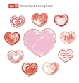 Set of hand drawn hearts grunge style vector image
