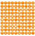 100 phobias icons set orange vector image vector image