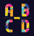 alphabet colorful geometric style in a set abcd vector image