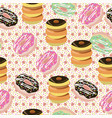 background with chocolate donuts vector image