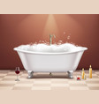 bathtub with foam composition vector image vector image