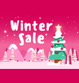 beautiful christmas poster with tree houses and vector image vector image
