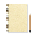 blank realistic spiral notepad notebook and pencil vector image
