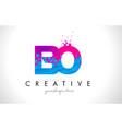 bo b o letter logo with shattered broken blue vector image