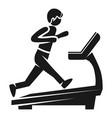 boy at treadmill icon simple style vector image