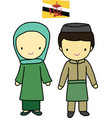 Brunei traditional costume vector image vector image