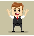 business man smile and shows OK hand sign vector image vector image