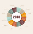 calendar 2018 round shape week starts sunday vector image vector image