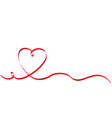 calligraphy red heart ribbon on white stock vector image vector image