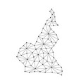cameroon map of polygonal mosaic lines network vector image vector image