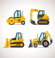 Car Flat Icon Set with Construction Equipment vector image vector image